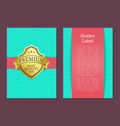 golden label quality award premium brand guarantee vector image