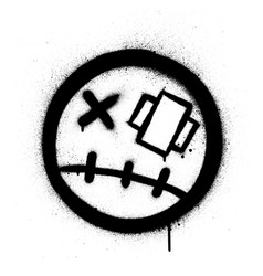 Graffiti injured icon sprayed in black over white vector