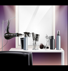 Hairdress tools realistic composition vector