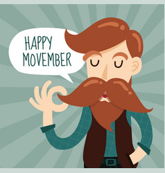 happy movember charity event background design vector image