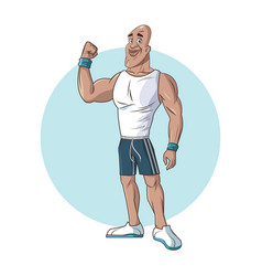 healthy man athletic muscular strong arm vector image