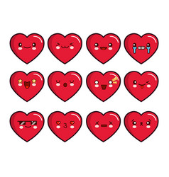 heart emoticons set smiley icons set vector image