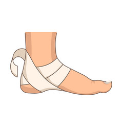Heel bandage foot injury or stretching first aid vector