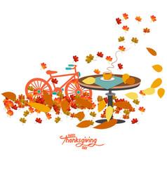 Hello autumn autumn coffee with autumn leaves on vector