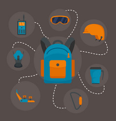 hiking equipment background flat style vector image