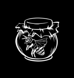 honey bee and jar outline logo design vector image