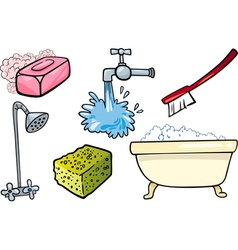 Hygiene objects cartoon set vector