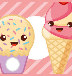 ices scream kawaii vector image