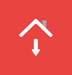 Icon concept arrow moving down under house vector