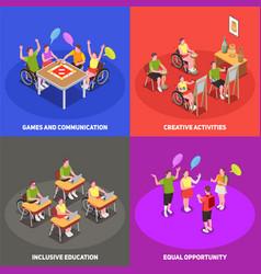 inclusive education 2x2 set vector image