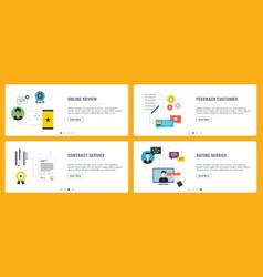 Internet banner set feedback review contract vector