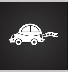 just married car on black background vector image