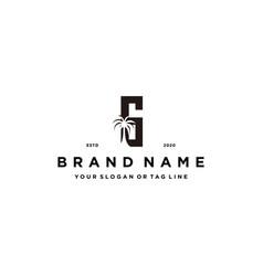 Letter g palm logo design concept vector