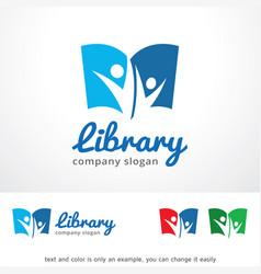 Library logo template design vector