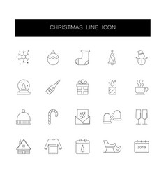 line icons set christmas pack vector image