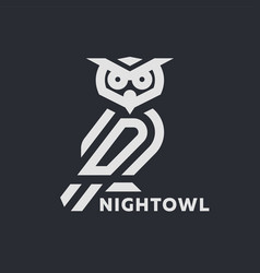 linear owl logo or design template on a dark vector image