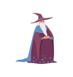 magic old man medieval character wearing robe and vector image