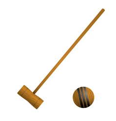Mallet and ball croquet vector image