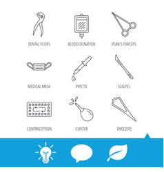 medical mask blood and dental pliers icons vector image
