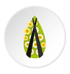 Memorial wreath icon circle vector