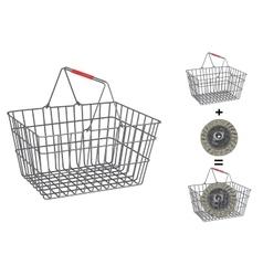 Metallic basket on isolated white background vector image