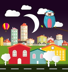 night flat design city - town with owl - moon vector image
