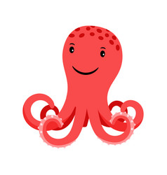 octopus red cartoon icon vector image