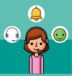 operator woman character customer service vector image