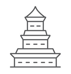 pagoda thin line icon japan and architecture vector image