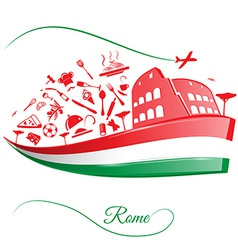 Rome colosseum with food element on italian flag vector