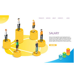 Salary wage landing page website template vector