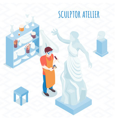 sculptor artist isometric composition vector image