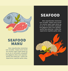 seafood restaurant menu design template for vector image