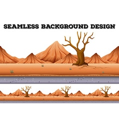Seamless background design with tree and mountain vector image
