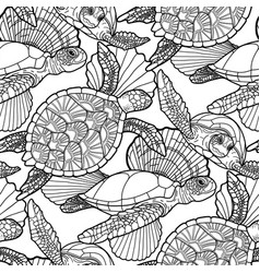 Seamless pattern graphic swimming turtles in vector