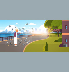 Senior woman feeding flock of pigeon modern city vector