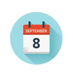 September 8 flat daily calendar icon date vector
