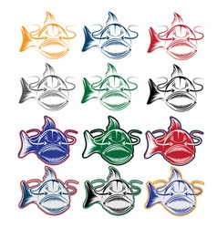 set of cartoon catfish mascot vector image