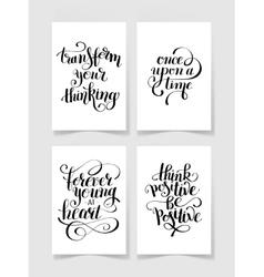 Set of four black and white handwritten lettering vector