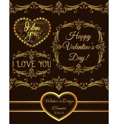 Set of valentine design elements golden vector