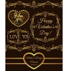 set of valentine design elements golden vector image