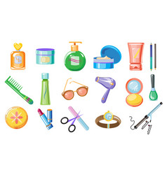 set of women accessories skincare and hygiene vector image