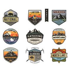 Set vintage hand drawn travel badges camping vector