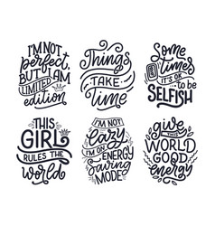 set with funny hand drawn lettering compositions vector image