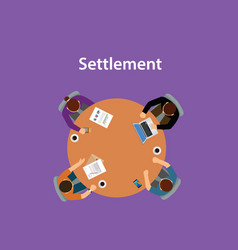 settlement concept discussion with vector image