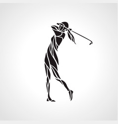 silhouette of woman golf player golfer logo vector image