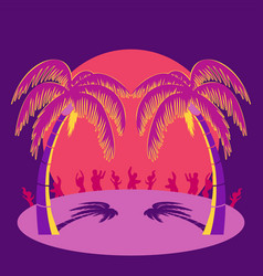 silhouette party people and palm trees on beach vector image