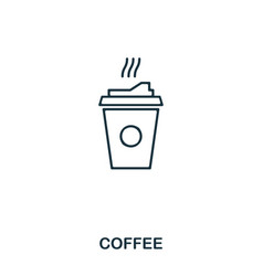 simple outline coffee icon pixel perfect linear vector image