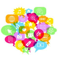 social network symbols in speech bubbles vector image