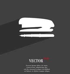 Stapler and pen symbol flat modern web design vector
